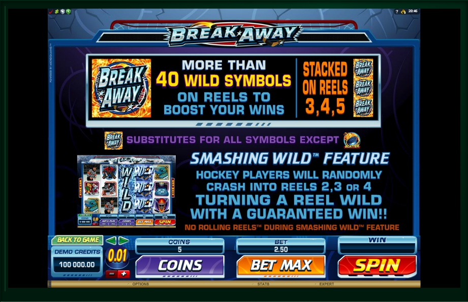1 скриншот автомата онлайн Break Away Slot