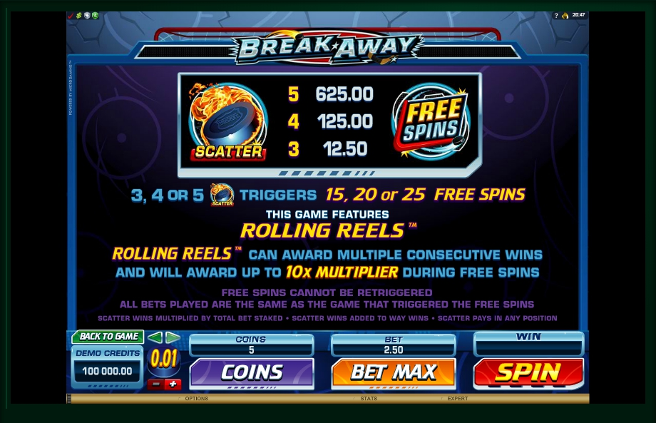 2 скриншот автомата онлайн Break Away Slot