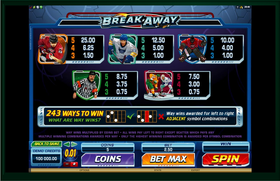 3 скриншот автомата онлайн Break Away Slot