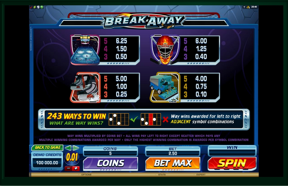 4 скриншот автомата онлайн Break Away Slot