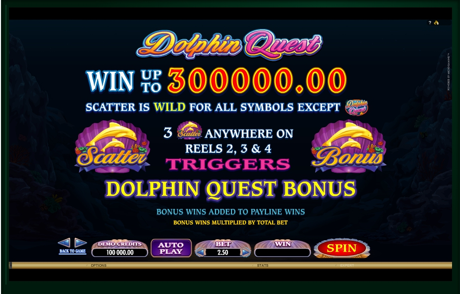 1 скриншот автомата онлайн Dolphin Quest Slot