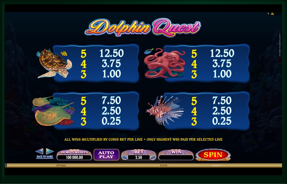 3 скриншот автомата онлайн Dolphin Quest Slot