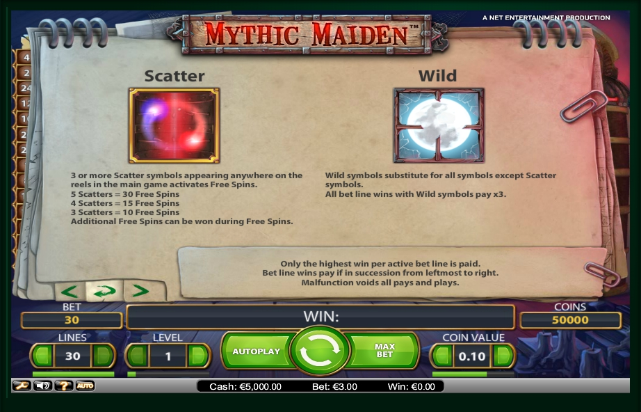 1 скриншот автомата онлайн Mythic Maiden Slot