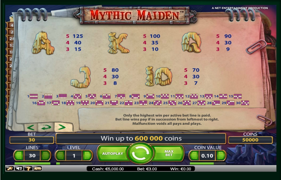 4 скриншот автомата онлайн Mythic Maiden Slot