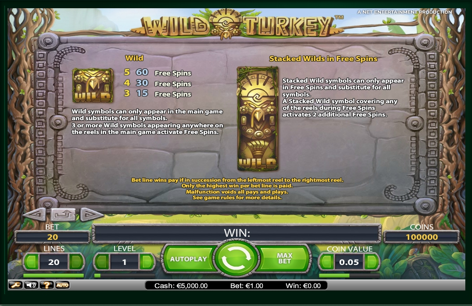 1 скриншот автомата онлайн Wild Turkey Slot